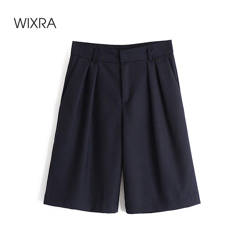 سراويل مستقيمة للنساء من Wixra بطول الركبة وسحابات فضفاضة عالية الخصر ملابس للخروجات اليومية ملابس صيفية للشارع لون كحلي