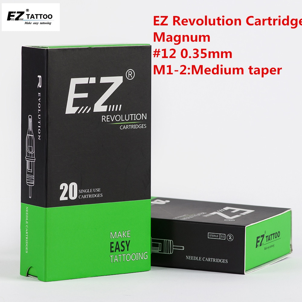 Cartucho para tatuar agujas EZ Revolution Magnum n. ° 12 0,35mm, cono mediano de 3,5mm, para sistema de cartuchos, agarres para máquina de tatuar 20 unids/caja