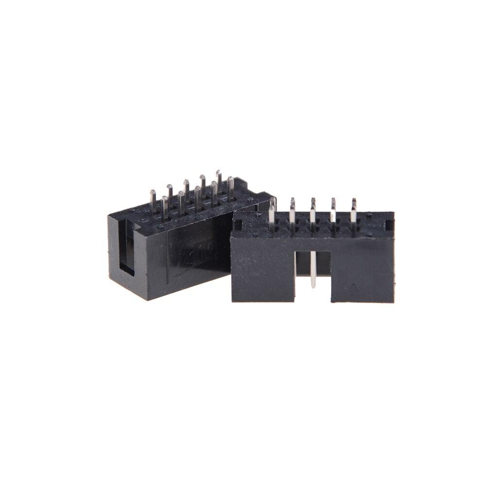 10 pièces/lot DC3 6/8/10 broche Double rangée pas 2.54mm Double-espacé broche droite mâle IDC prise boîte en-tête connecteur en gros
