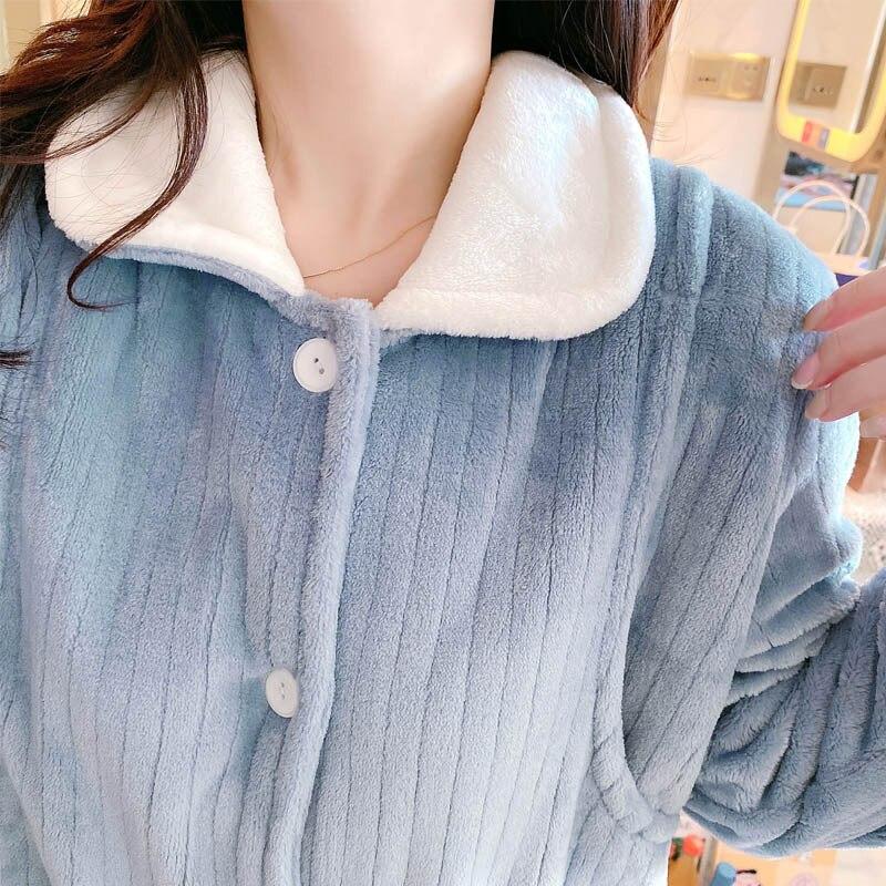 Autumn & Winter Flannel Confinement Clothing after Delivery plus Pajamas Thick Coral Velvet Pregnant Women Home Clothes Warm Bre enlarge