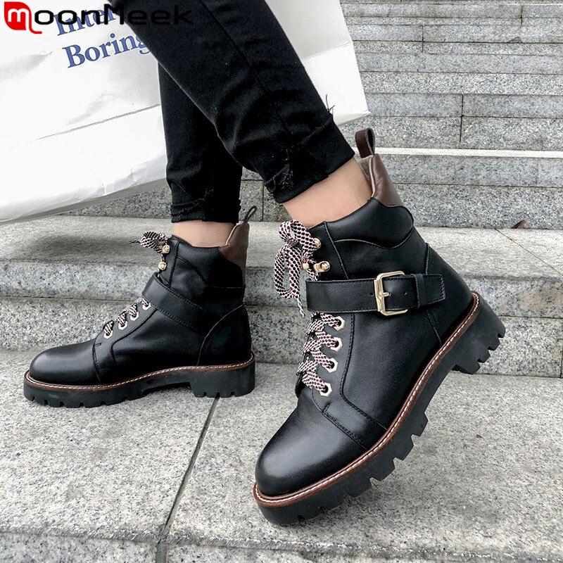 Moonmeek 2020 nova ankle boot round toe rendas até botas de couro genuíno cores misturadas outono inverno motocicletas botas femininas