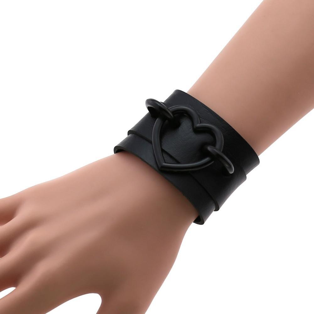 Tout noir punk coeur bracelets femmes hommes cuir Bracelet Bracelet manchette goth bijoux gothique emo brassards cosplay accessoires