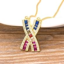 Offre spéciale collier arc-en-ciel initiale chaîne en or X forme coloré Zircon pierre collier ras du cou pour les femmes Boho mode fête bijoux