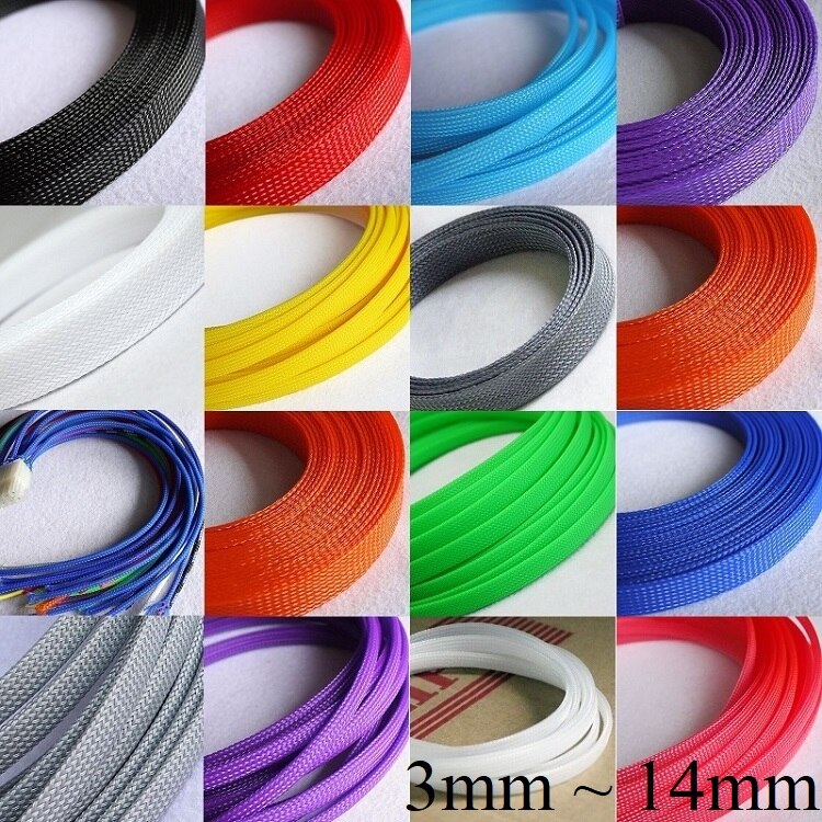 5M 2 4 6 8 10 12 14 mm Cable Sleeve PET Braided Expandable Wire Wrap Insulated Nylon High Density Tight Sheath Protector Harness