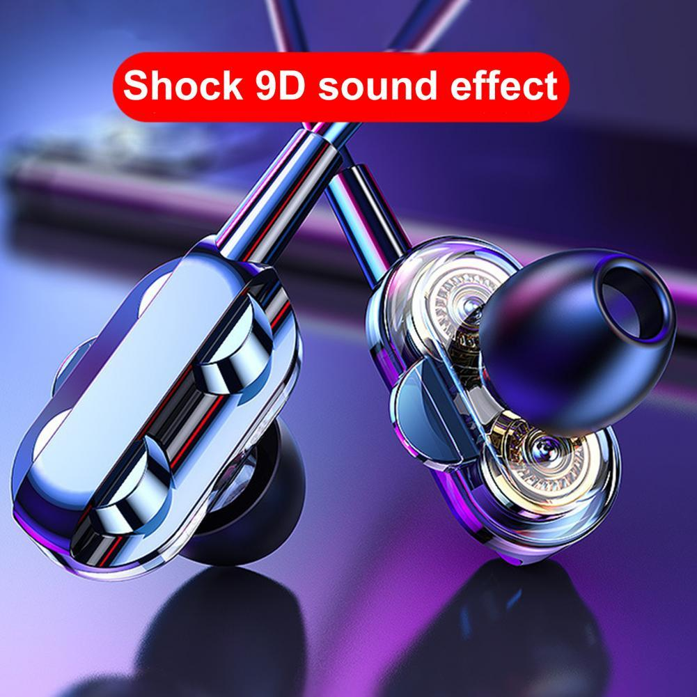 A4 Universal Wire Control Double Moving Coil Subwoofer Earphone In-ear Earplugs Headset