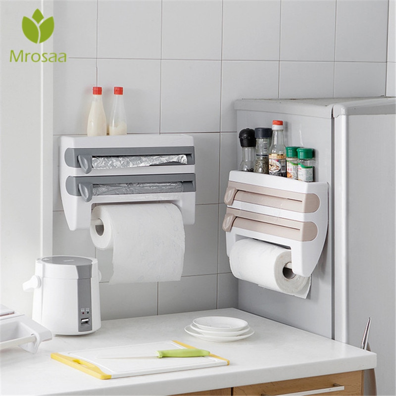 منظم المطبخ اللاصق ، لتخزين الزجاجات والصلصة ، ورف المناشف الورقية ، ولفائف الحائط ، وأدوات المطبخ