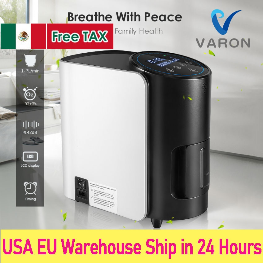 1 6l min portable oxygen concentrator home travel use generator no battery air purifier for home with handle 24 hours working VARON 1-7L/min Oxygen Concentrator Machine Generator Portable Oxygen Making Machine Without Battery Air Purifier AC 220V/110V