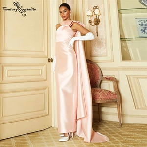 One Shoulder Pink  Evening Dresses Long with Cape Big Bow Simple Satin Prom Dress Formal Gowns Robe De Soiree