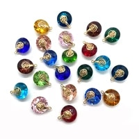 charms for jewelry making 10pcs metal round crystal jewelry gold alloy pendants in multiple colors diy accessories