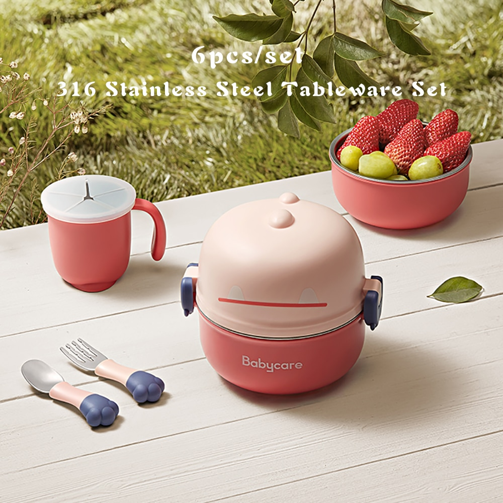 =6pcs Baby Feeding Bowl Spoon Anti-scalding Stainless Steel Handle Tableware Set BPA Free Outdoor Silicone Dishes