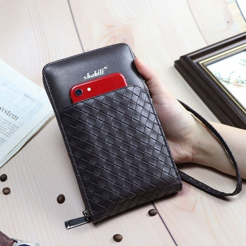 Men Wallets Long Style Woven pattern Purse Card Holder Cell Phone Pocket Male Purse Zipper Large Cap