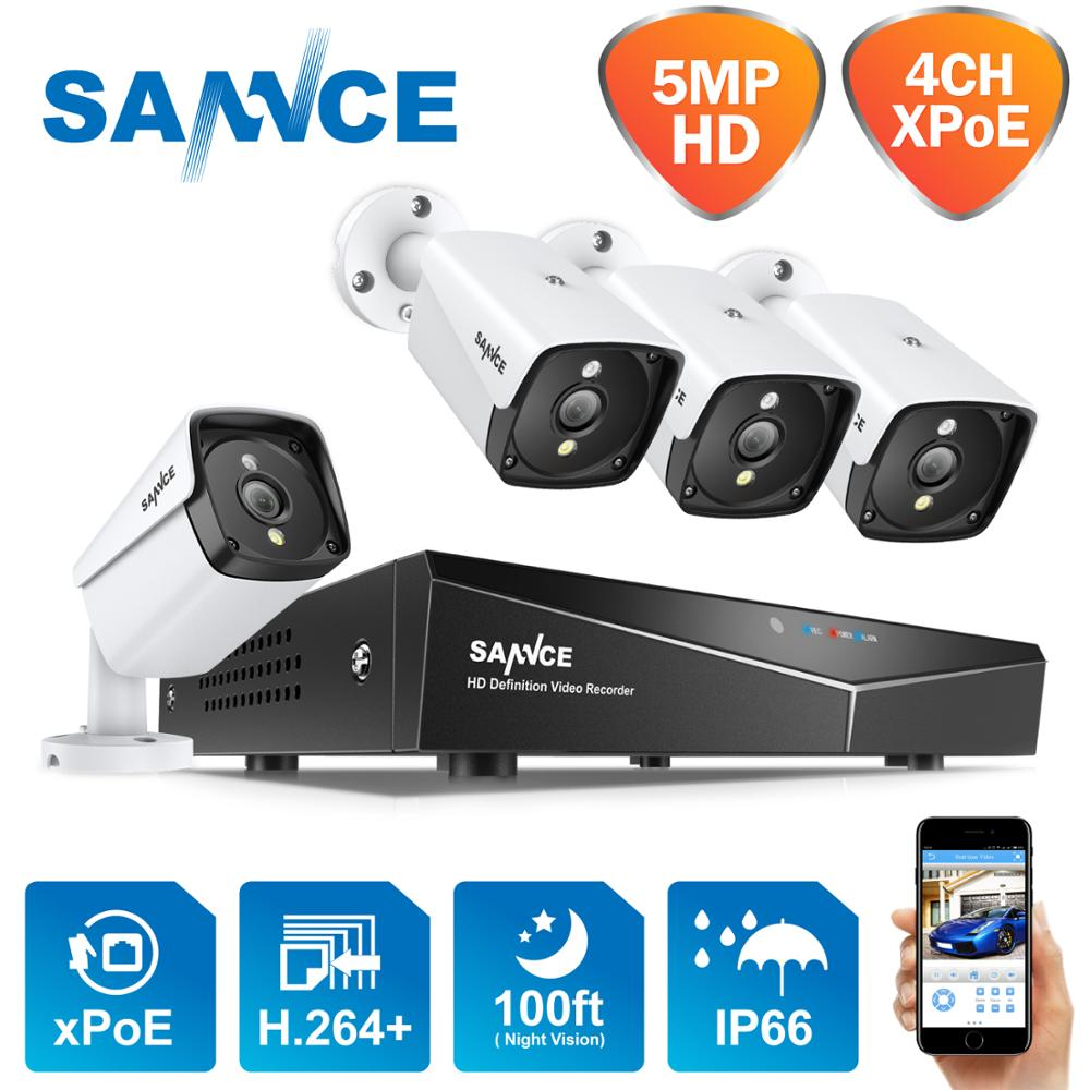 Система видеонаблюдения SANNCE HD, 4 канала, 5 МП, POE, H.264, NVR, 4 IP-камеры 5 МП, наружная водонепроницаемая система безопасности, сетевой видеорегистр...