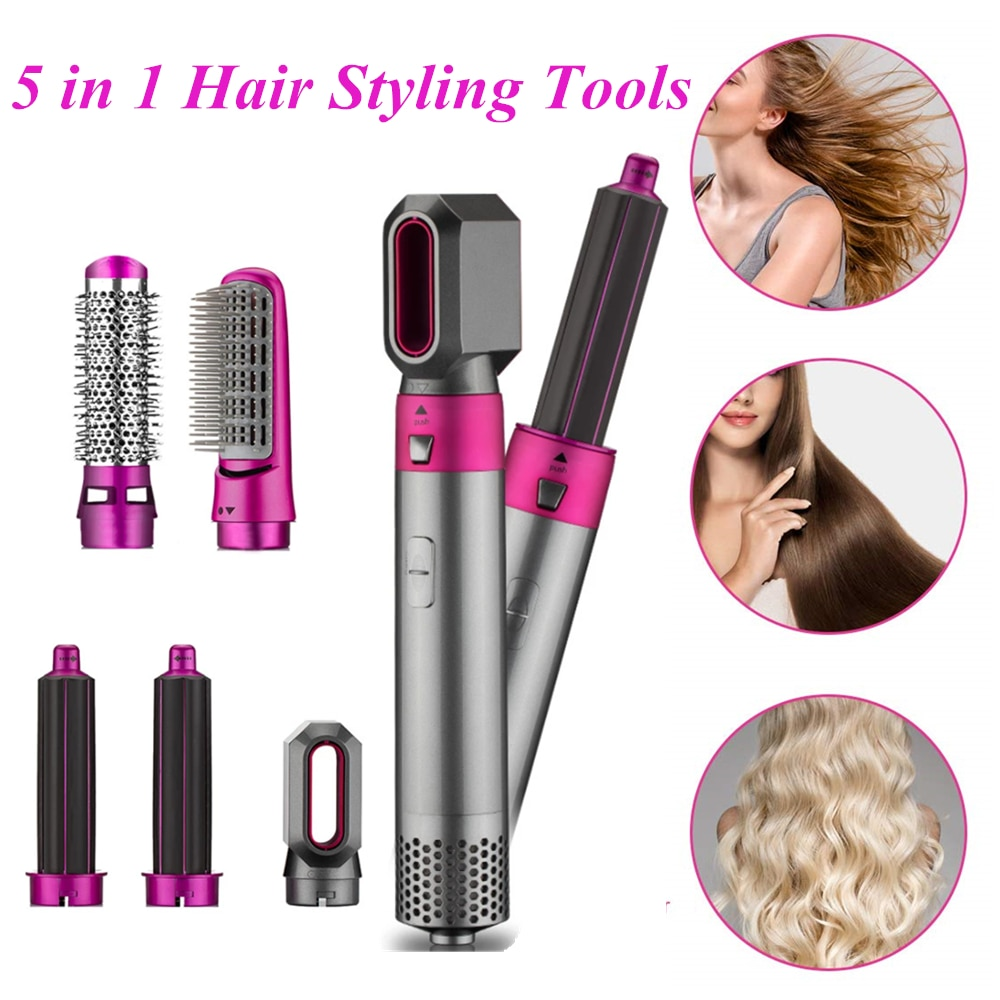 5 In 1 One Step Hair Dryer & Volumizer Rotating Hairdryer Hair Straightener Comb Curling Brush Hair