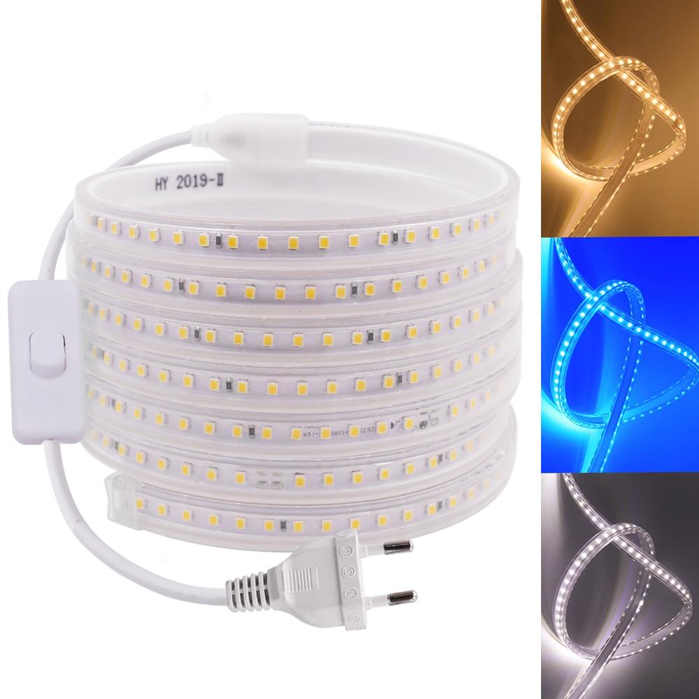220V Светодиодные ленты IP67 Водонепроницаемый белого и синего цвета 120 светодиодов/m 2835 гибкая лента светодиодный светильник лампы + ЕС переключатель