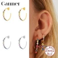 canner flower shape rainbow zircon 100 925 sterling silver earrings stud earrings for women fine jewelry piercing pendientes w5