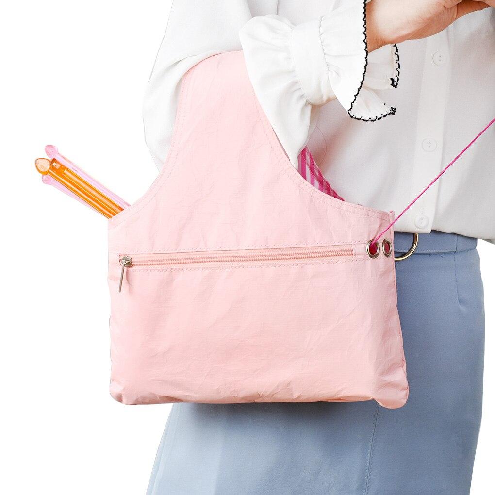Bolsa de almacenamiento de hilo DIY, bolsa de mano de ganchillo de hilo portátil de papel amigable con el medio ambiente, bolsa organizadora de agujas de tejer