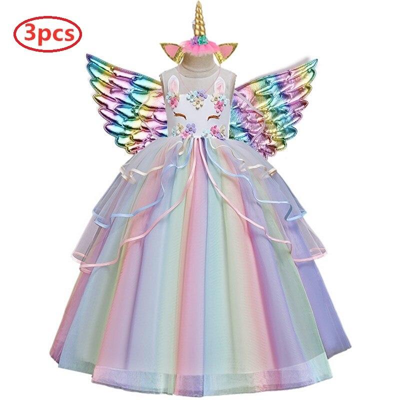 Vestido da menina do verão da flor da menina unicórnio arco-íris casamento vestido de festa para a menina festa de aniversário unicórnio papel dança desempenho vestido
