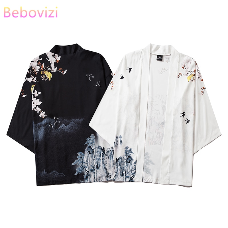 INS Hot Chinese Style Street Fashion Harajuku Kimono Cosplay Japanese Male and Women Cardigan Blouse Top Haori Obi Asian Clothes