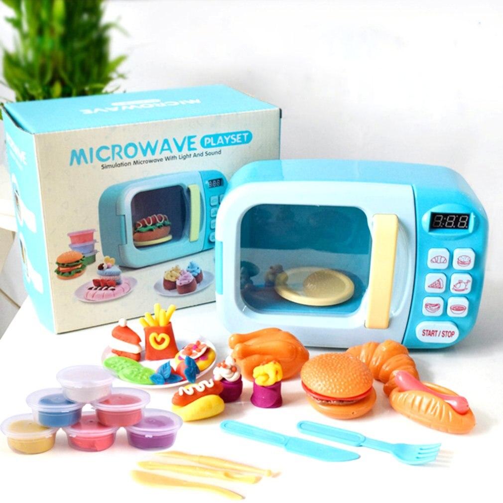 Puzzle pour enfants couleur boue jouer maison jouets son et lumière synchronisation Simulation petits appareils four à micro-ondes