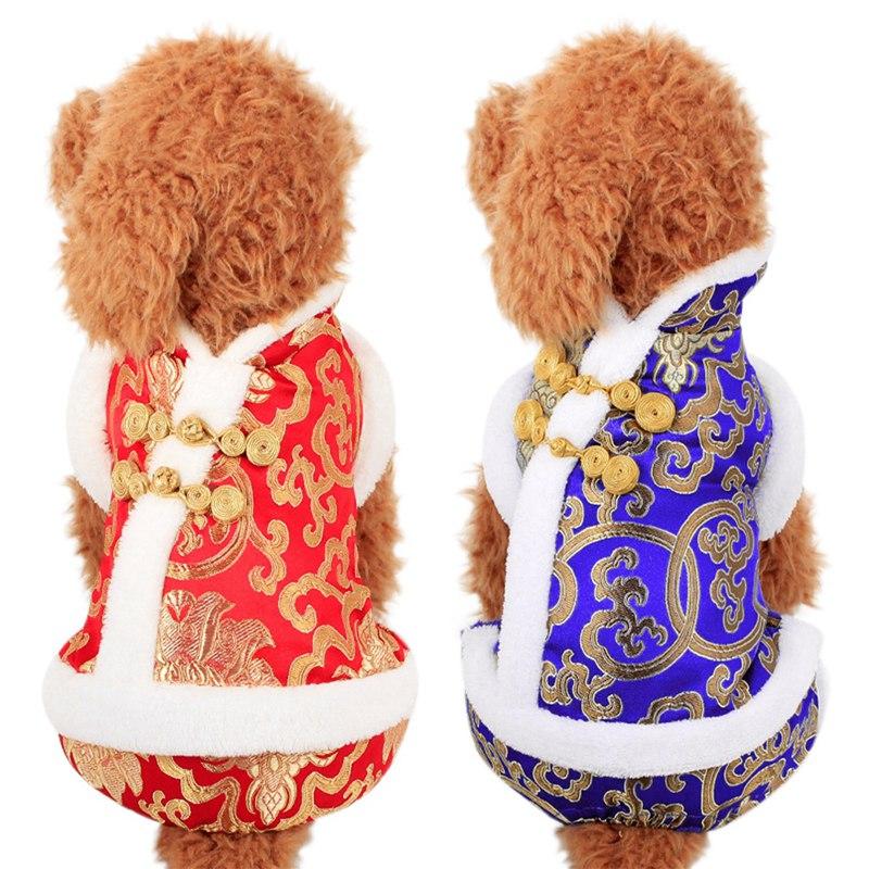 Abrigo de invierno para mascotas para año nuevo cuatro patas Tang traje ropa novedad divertido Festival chaqueta de la suerte añadir ambiente Festival