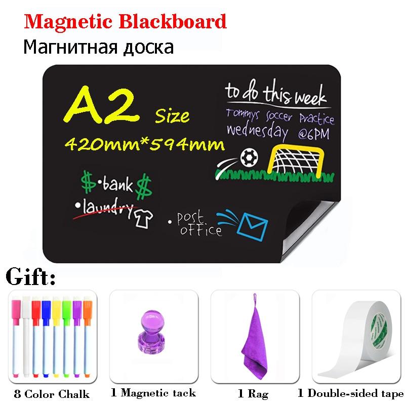 A2 Size Magnetic Chalkboard Chalk Board BlackBoard Fridge Stickers Wall Waterproof Draw Board Calendar Dust Free Liquid Pen