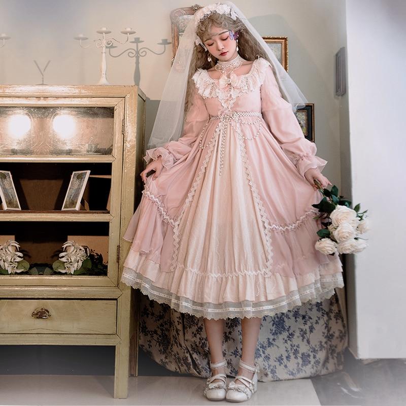 فستان لوليتا بأكمام طويلة ، كلاسيكي ملكي