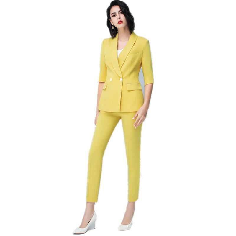 Pantalones De Mujer Trajes De Verano Finos Para Mujer Conjunto De 2 Piezas Medio Blazer Pantalones Uniforme De Dama Casual De Oficina Ropa De Trabajo Ropa Interior