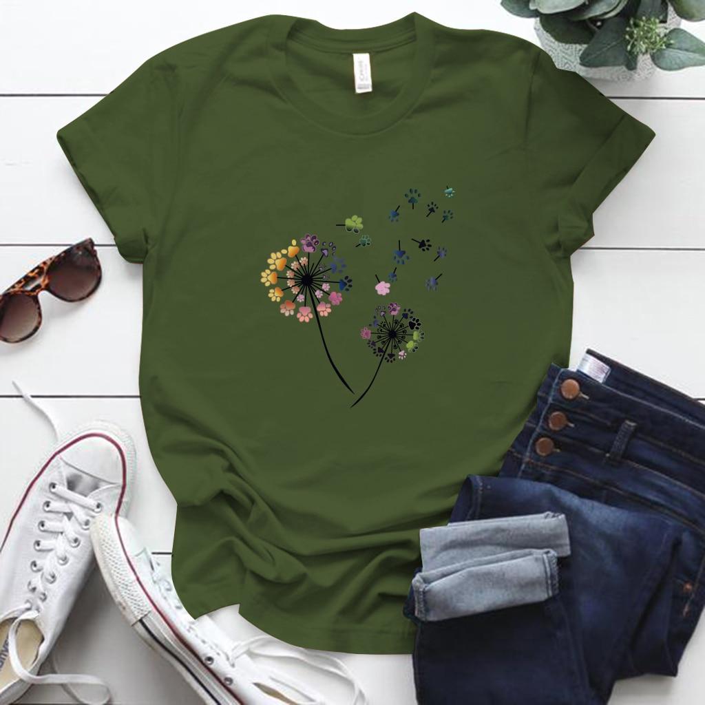 Color Dandelion Printed Tshirt Women S-5xl Plus Size Summer Funny Tshirt Tee Shirt Femme Short Sleeve Tops Women Clothing 2020