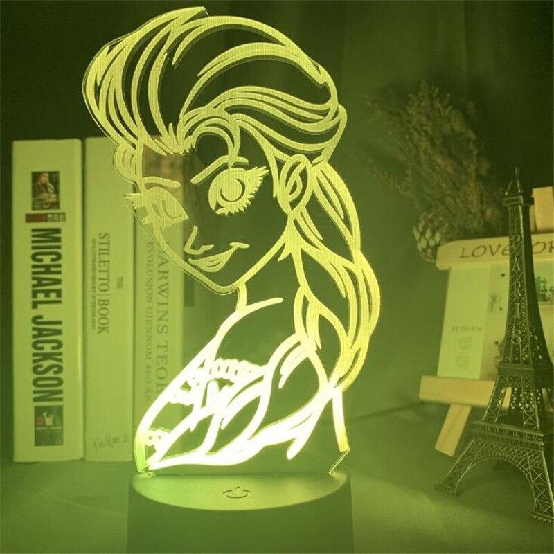 Frozen Anime LED Disney Elsa princesa 3D luz de noche dibujos animados película Anime mesa escritorio lámpara hogar dormitorio decoración Anna Lampara Girl