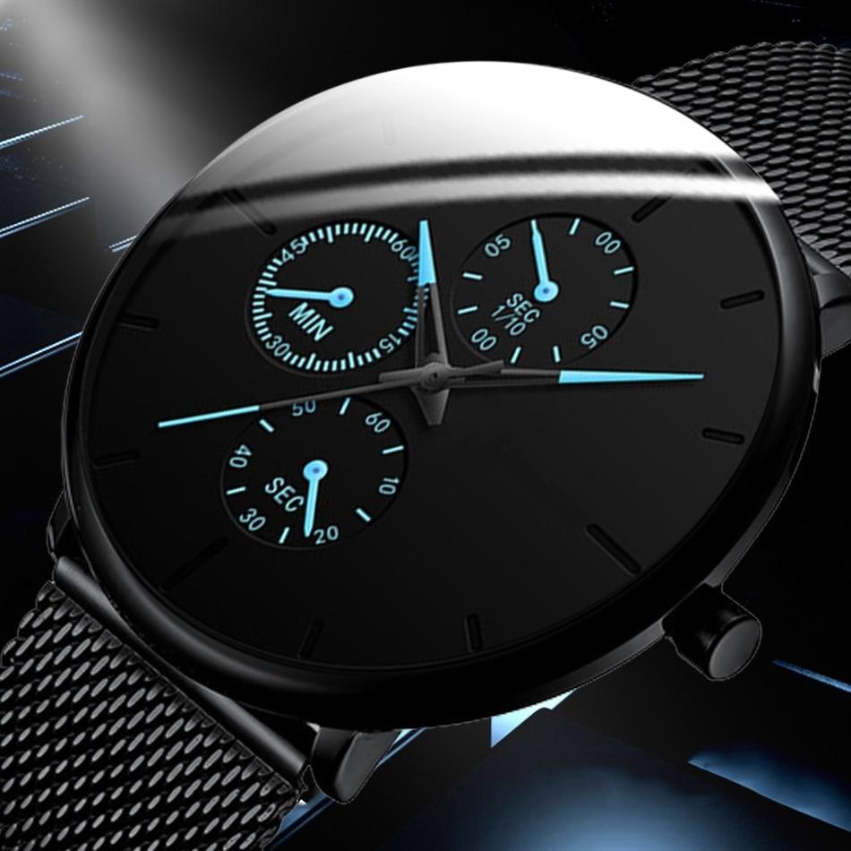 Mens Watches Male Luminous Quartz Watch Casual Slim Mesh Steel Waterproof Sport Watch 2020 Gift Relogio Masculino kol saati