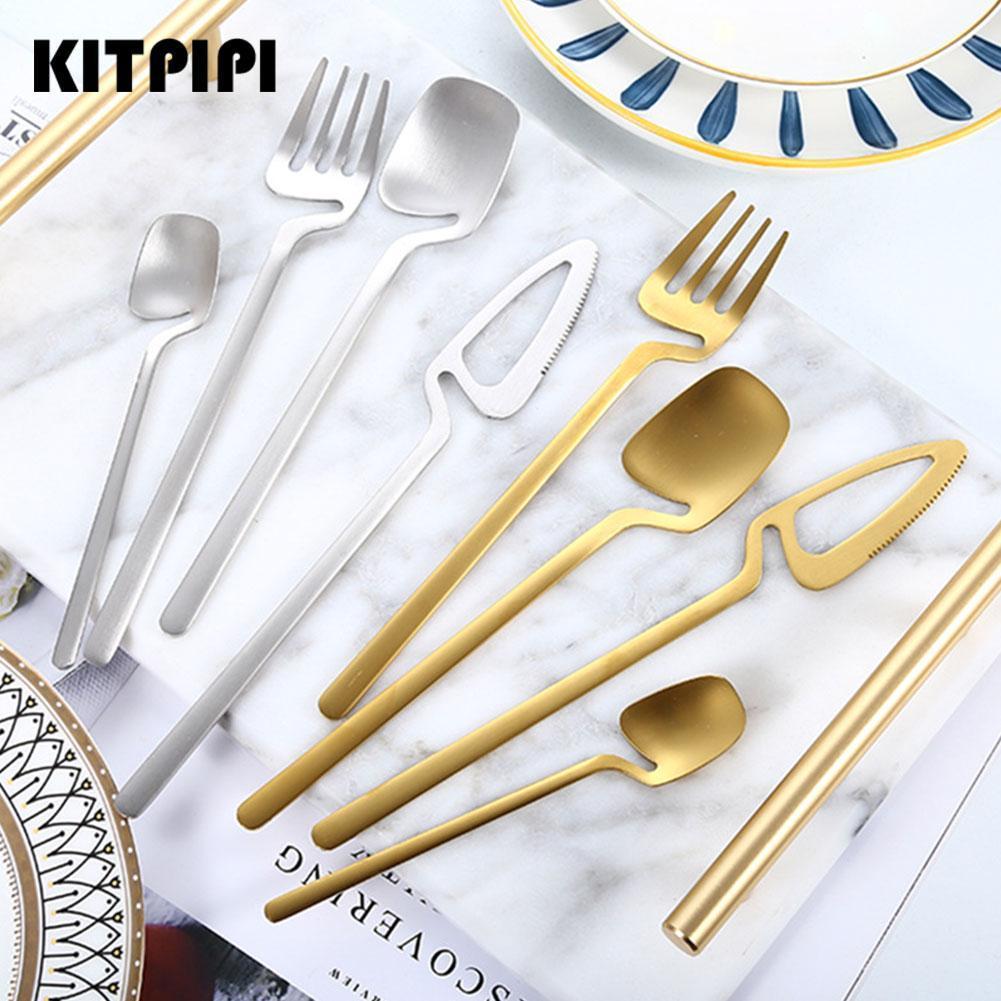 Dinnerware Gold Cutlery Set Stainless Steel Luxury Flatware Home Silverware Fork Spoon Knife Kitchen Dinner Set Ice Spoon Knife