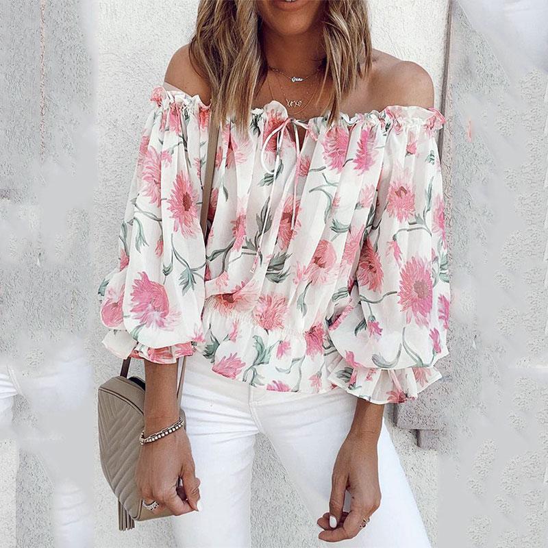 2021 Summer Women Casual Oversize Sexy Blouse Long Sleeve Tee Shirts Ruffles Off Shoulder Floral Print Lantern Sleeve Top