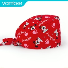 Cartoon cotton surgical cap male and female Health service work cap beauty Pet vet cap Operating roo