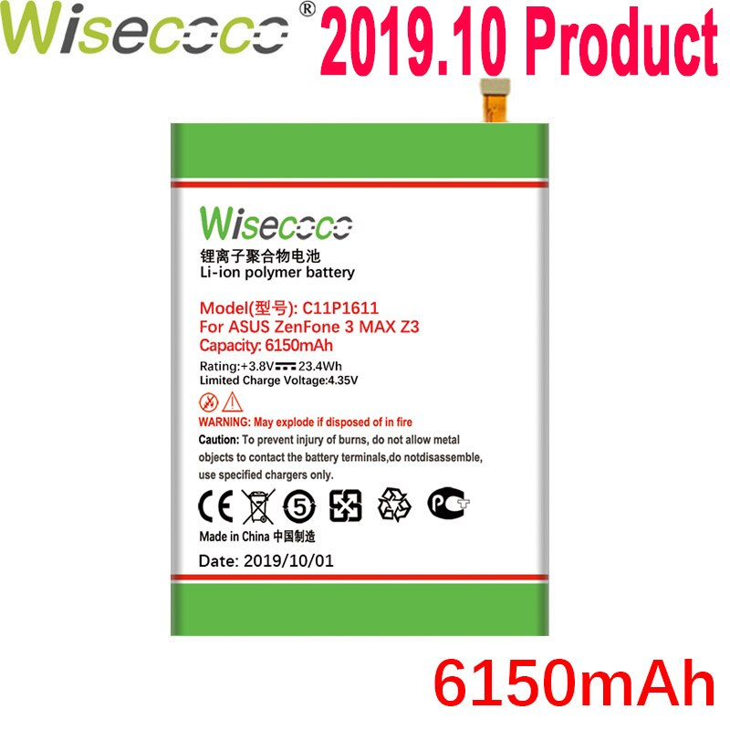 Batería WISECOCO 6150mAh C11P1611 para ASUS Zenfone 3 Max Z3 MAX ZC520TL PegASUS 3X008 X008D Z01B teléfono móvil + número de seguimiento