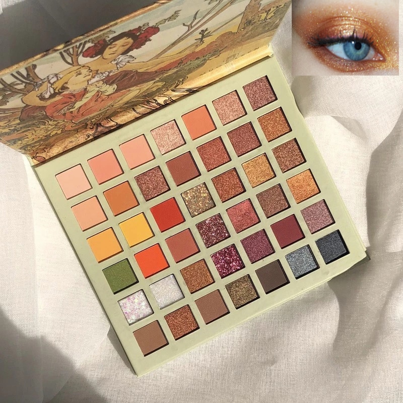 42 Colors Oil Painting Eyeshadow Palette Shimmer  Glitter  Eye Shadow Powder Matte Glitter Eyeshadow Palette Cosmetic Makeup недорого
