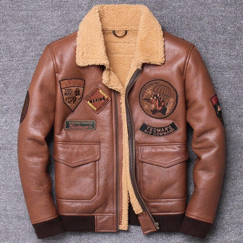 Original Ecology One Youth ropa de cuero genuino hombre piel de oveja solapa corto Fondo suelto abrigo ajustado