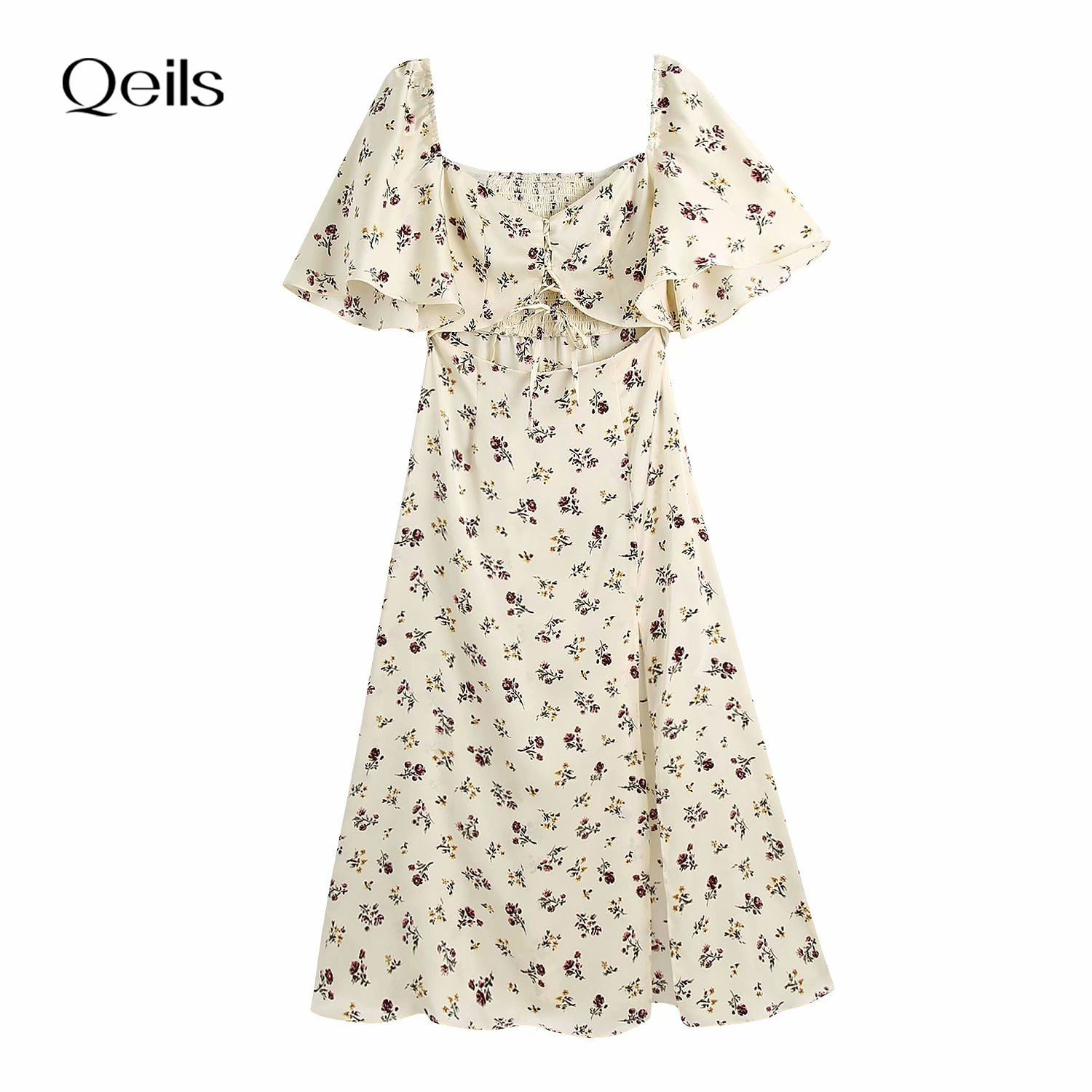 Qeils Mini Long Sleeve Dress Women Sexy Printing Single Breasted Casual Women Dress Women Summer 202
