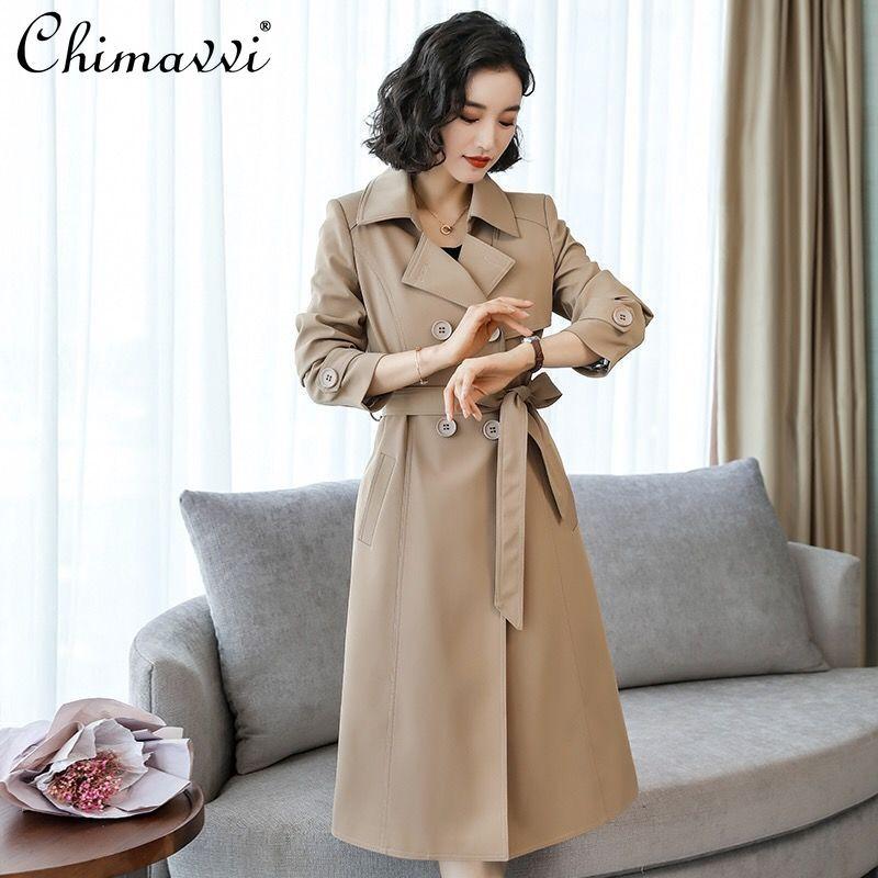 المرأة المتضخم الكورية نمط مزدوجة الصدر خندق معطف طويل الأكمام عادية سليم الخصر Windcoat سيدة فضفاضة الشارع ارتداء خندق