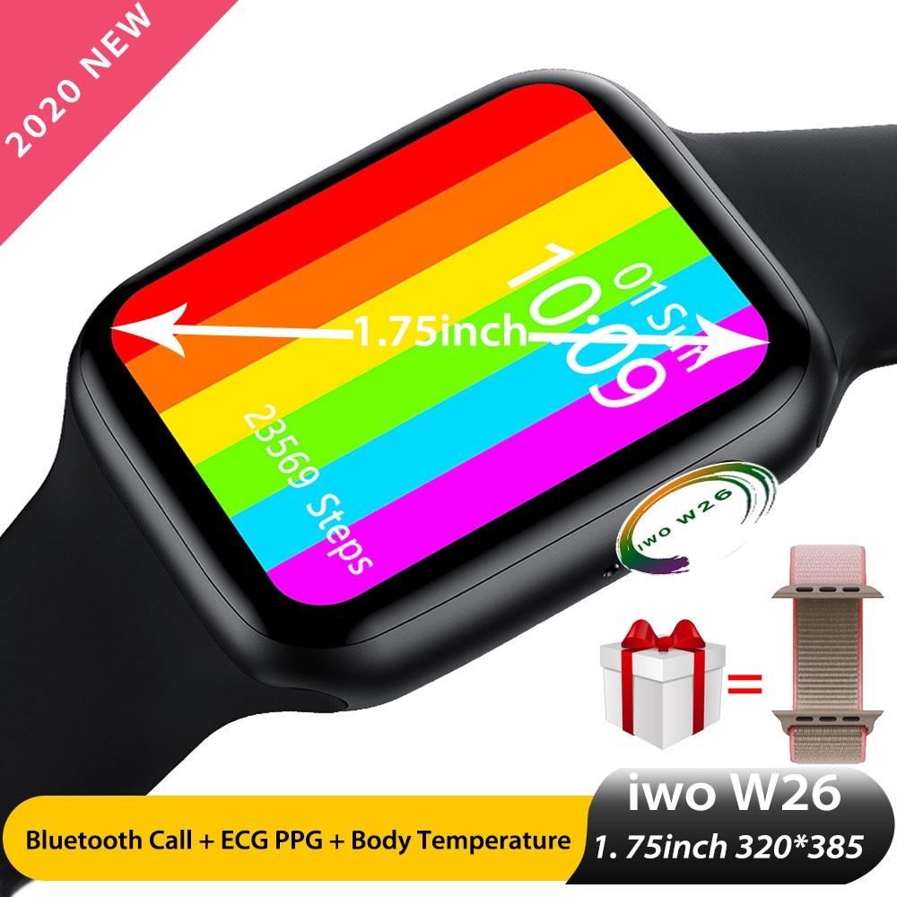 Reloj inteligente Iwo W26 con pantalla de 1,75 pulgadas 320*385 IP68 Smartwatch PPG + ECG, reloj de llamada con Bluetooth con temperatura corporal, Serie 6 PK Iwo 15