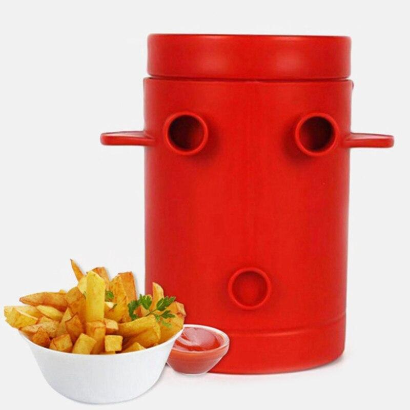 Máquina cortadora de patatas fritas, máquina cortadora de patatas fritas de cobre para patatas fritas Jiffy, máquina cortadora y contenedor para microondas, 2 en 1, sin freír