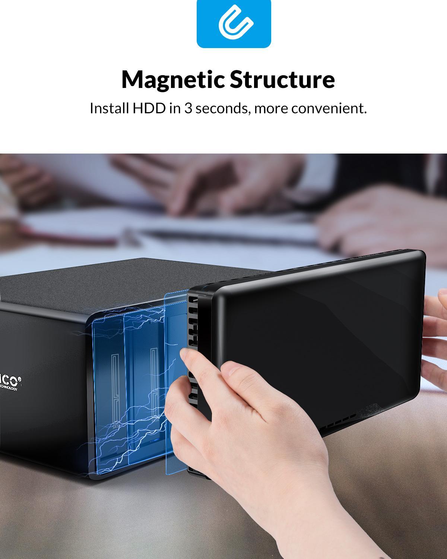 ORICO NS Series 8 Bay HDD Storage Hard Drive Docking Station SATA to USB3.0 External Hard Drive Enclosure Support 128TB (8x16TB) enlarge