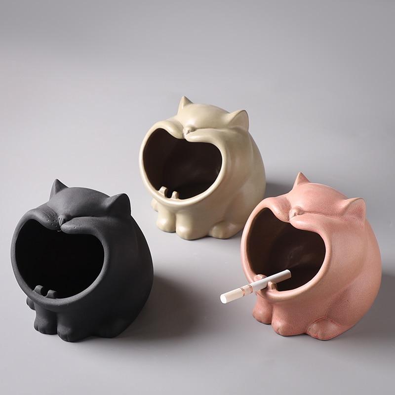 Cenicero de cerámica divertido de ytoldo para gatos, ceniceros decorativos con boca grande para gatos