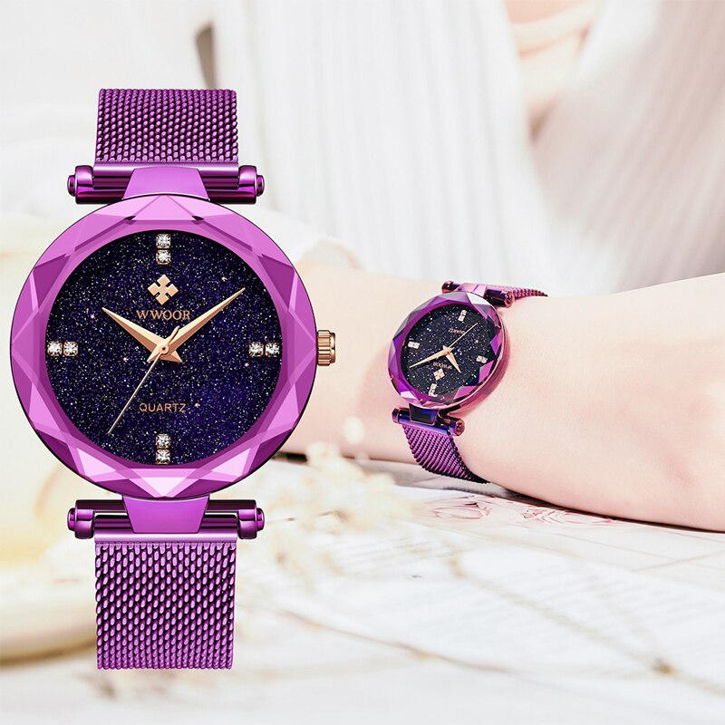 WWOOR Top Brand Luxury Purple Watch For Women Diamond Fashion Small Female Quartz Watches Waterproof Wristwatch Relogio Feminino enlarge