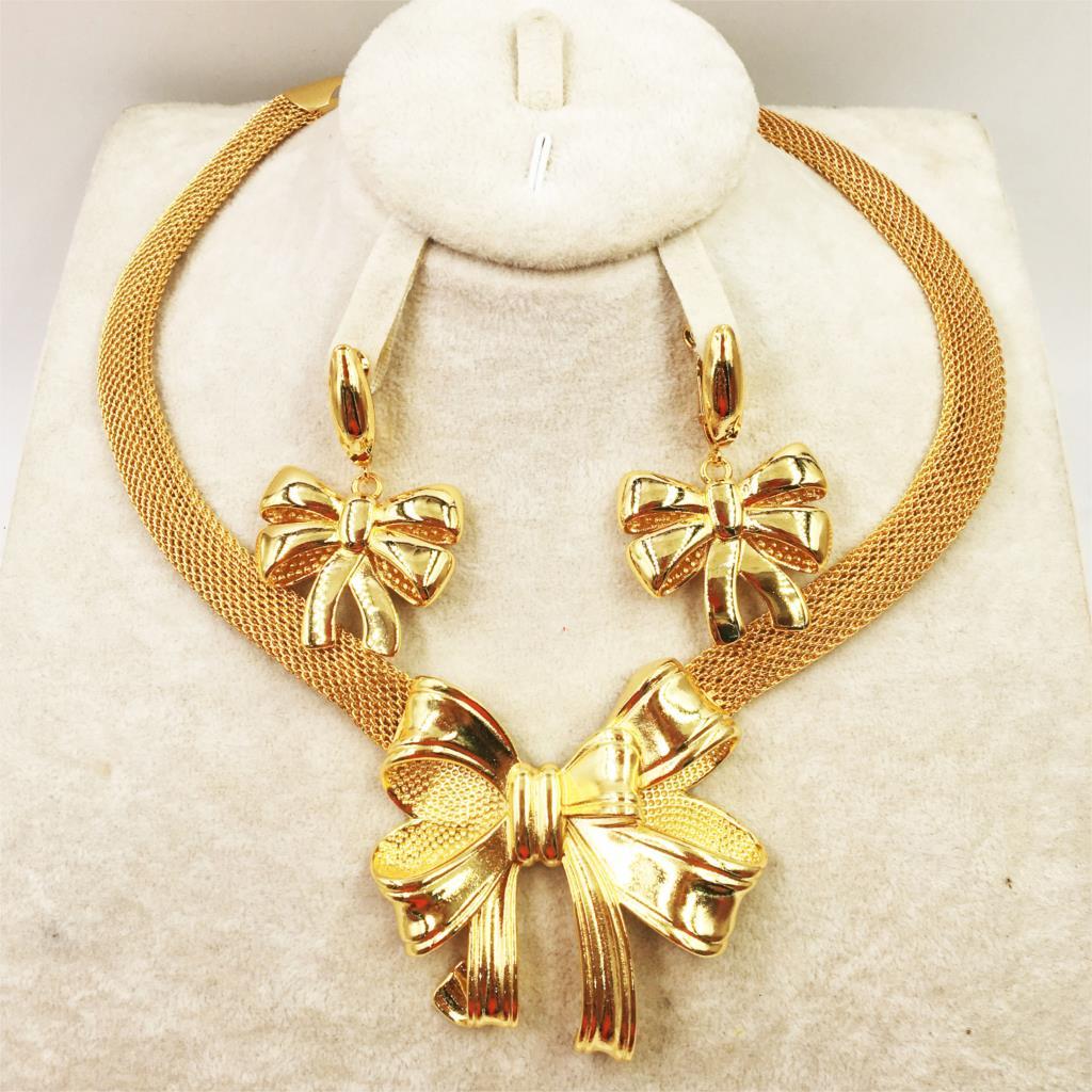 Conjunto de joyería italiana para mujer, collar y pendientes de oro de...