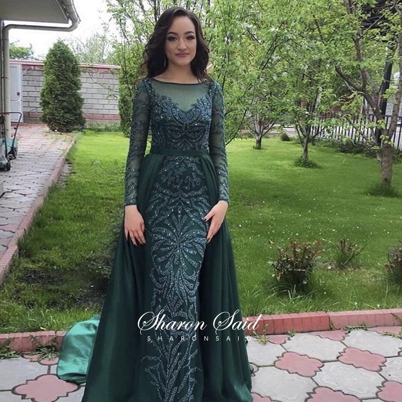 Esmeralda verde sereia muçulmano vestido de noite manga longa overskirt frisado azul real dubai vestidos formais árabe longo vestidos de festa