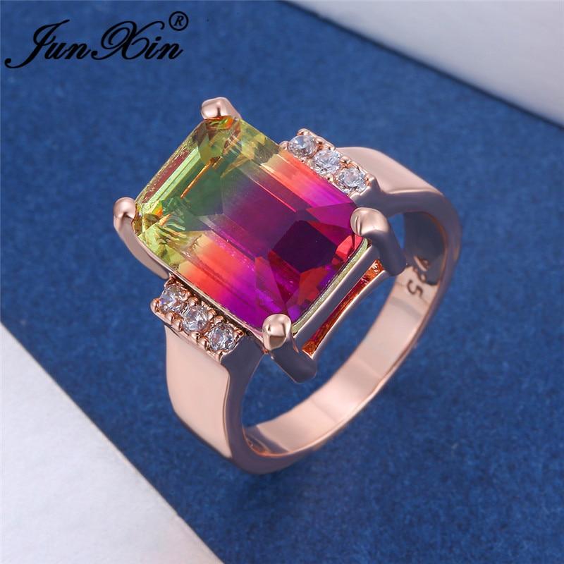 Feminino bonito vermelho verde azul anel de pedra rosa ouro casamento bandas mystic arco-íris fogo cristal retângulo anéis para jóias femininas cz