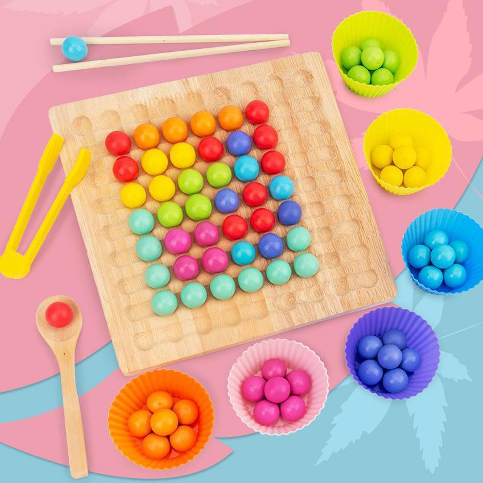 Wooden Clip Beads Rainbow Toy Go Games Set Dots Beads Board Games Toy Rainbow Clip Beads Puzzle Montessori Educational Toys