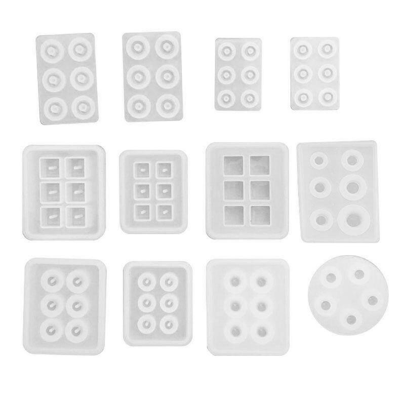 12 шт., круглые и квадратные круглые бусины из смолы, для изготовления ювелирных украшений, N58F