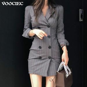 VOOCIEC 2020 Autumn Korean fashion Elegant temperament Commuter style slim stripe dress Suit dress