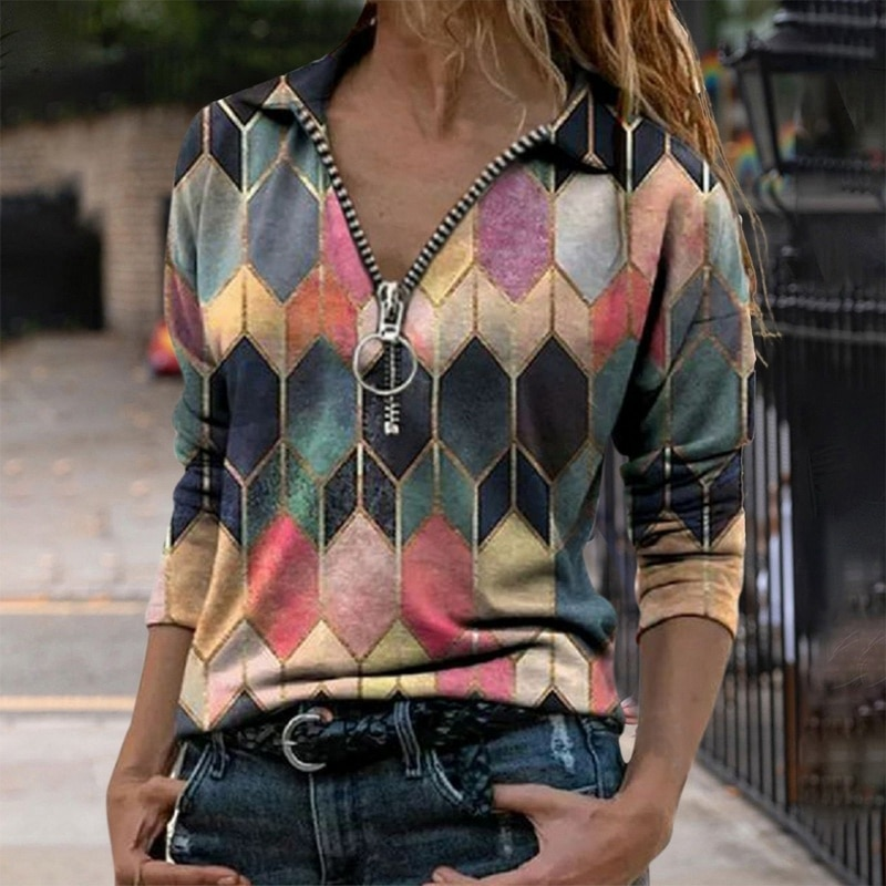 Women's T-shirt 2021 Spring and Summer New Fashion Vintage Printed Zipper V-neck Long Sleeve T-shirt Casual Plus Size Soft Top